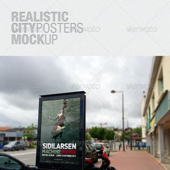 Realistic City Posters Mockup