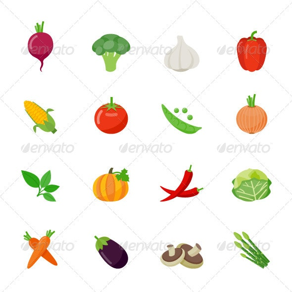 Vegetable Icons Flat Full Color Design - Food Objects