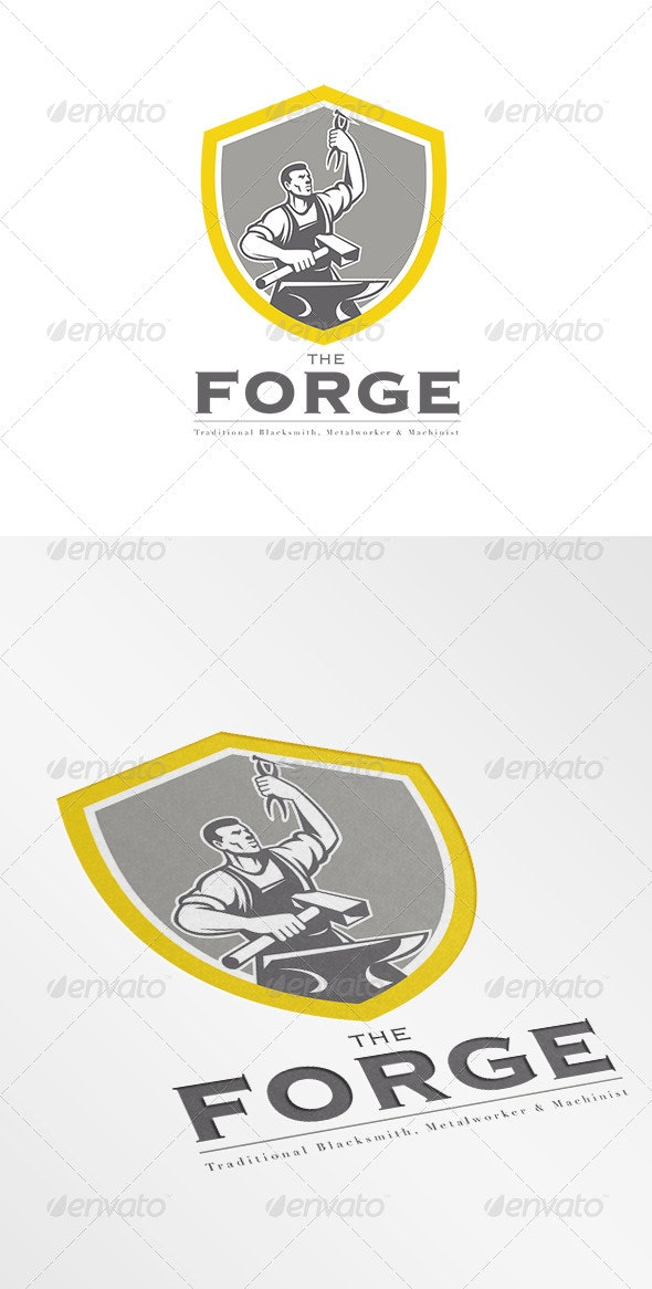 The Forge Traditional Blacksmith Logo - Humans Logo Templates