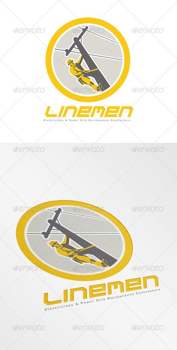 Linemen Electricians Power Logo - Humans Logo Templates