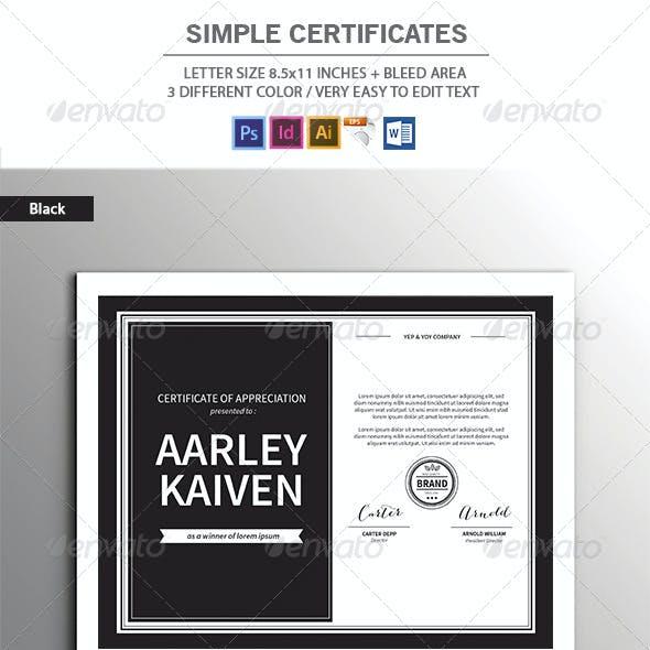 Simple Certificates