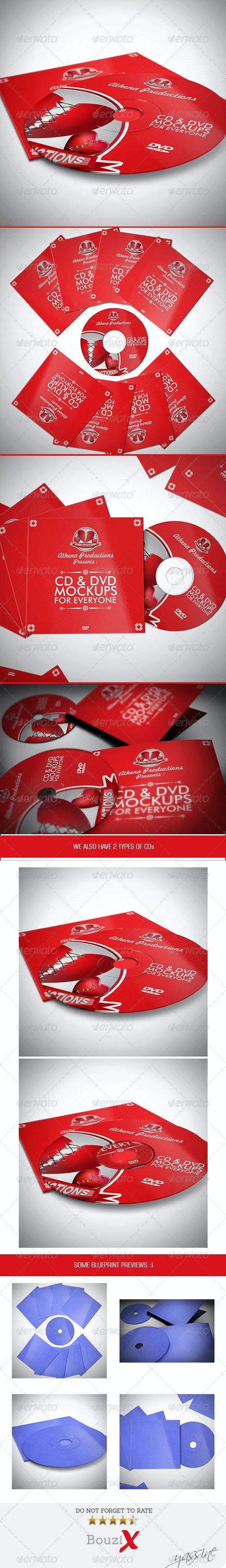 CD Sleeve & Sticker Mockups - Product Mock-Ups Graphics