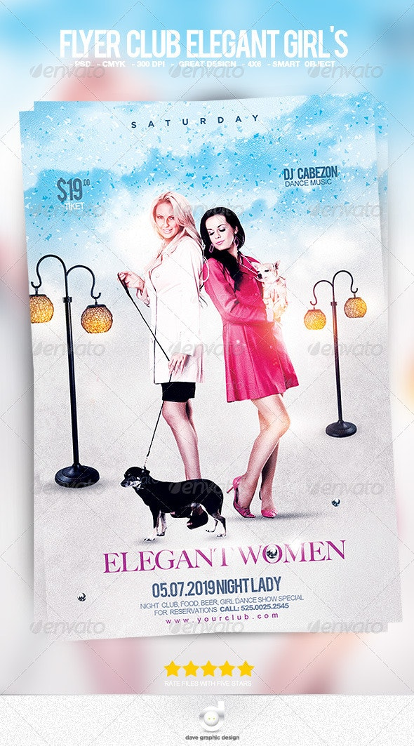 Flyer Club Elegant Girl's - Clubs & Parties Events