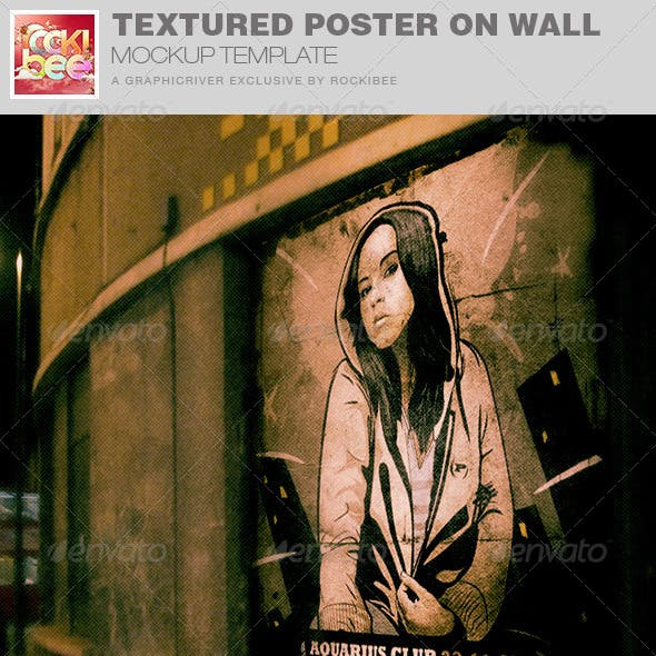 Textured Poster on Wall Mockup Template
