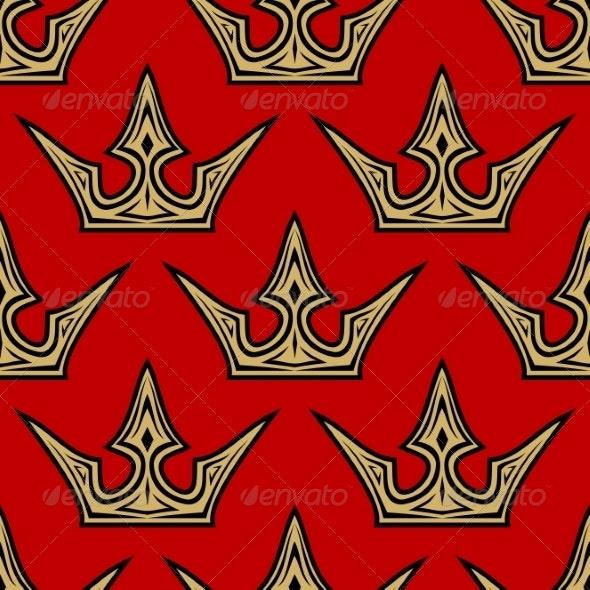 Golden Crowns Seamless Pattern - Patterns Decorative