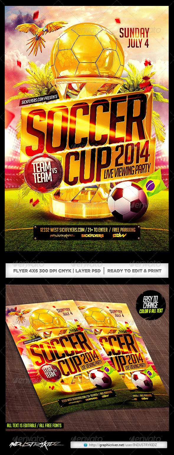 Brazil Soccer Cup 2014 Football Flyer - Sports Events