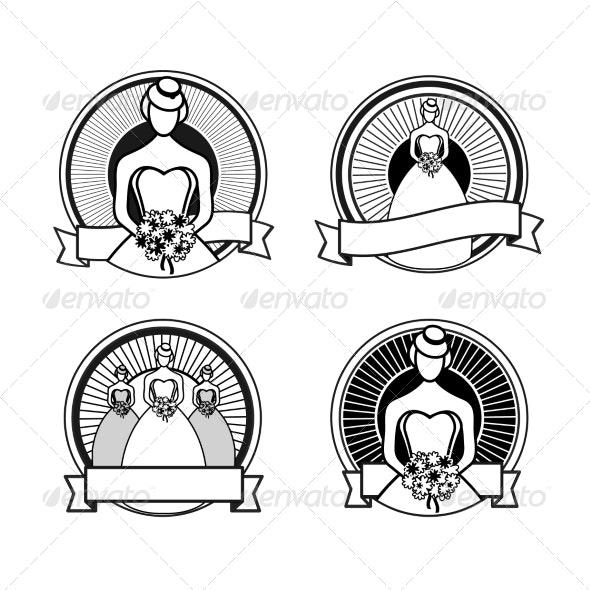 Black and White Wedding Stamps - Weddings Seasons/Holidays
