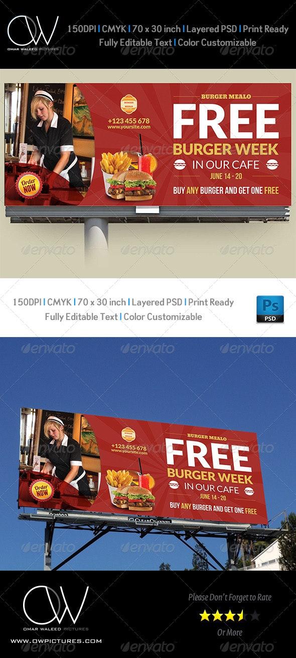 Burger Restaurant Billboard Template Vol.4 - Signage Print Templates