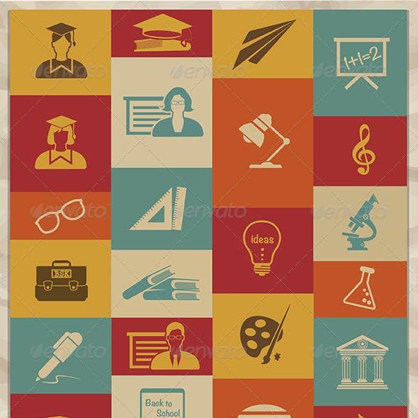 Retro Education Icons