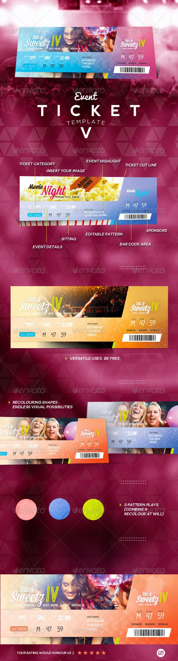Event Ticket Template V - Miscellaneous Print Templates