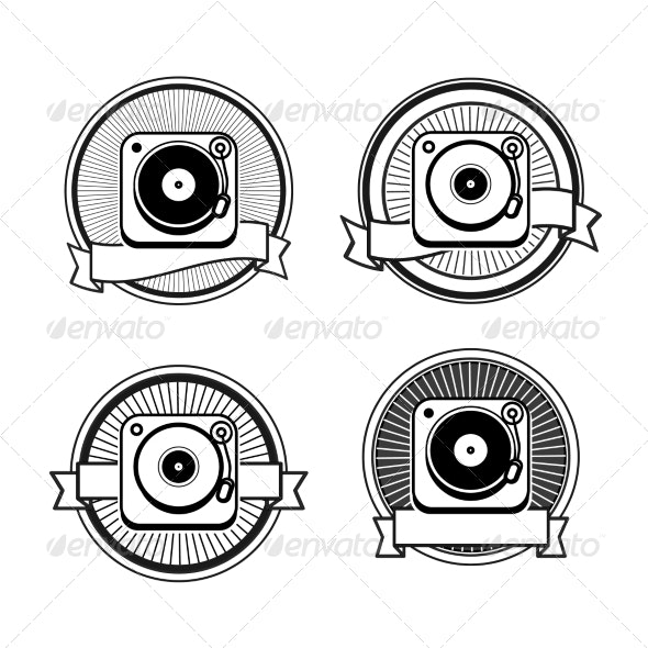 Black and White Record Player Icons - Decorative Symbols Decorative