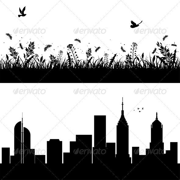Nature and Urban Banner - Buildings Objects