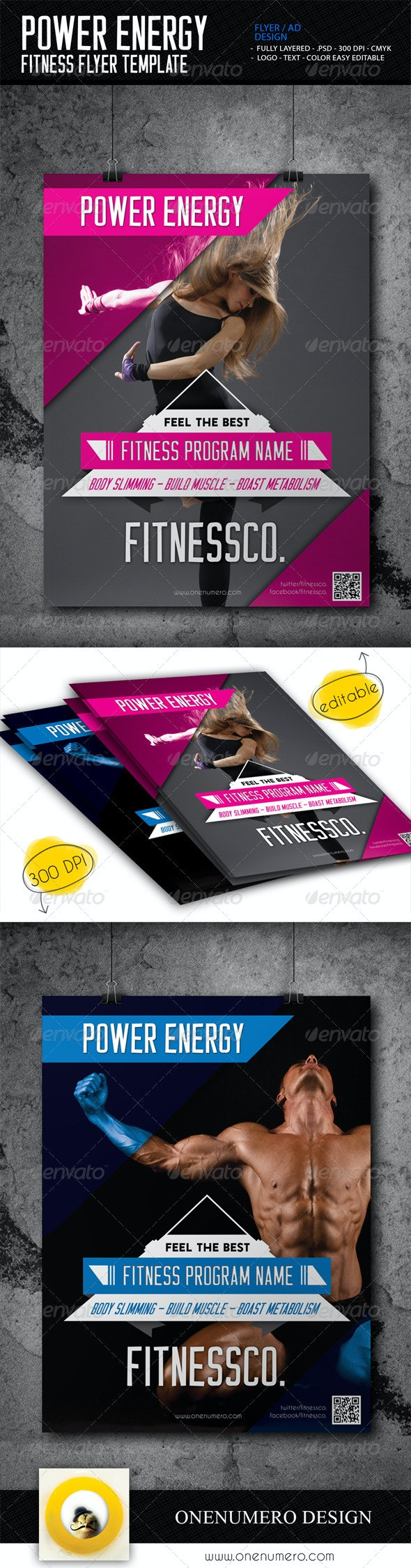 Power Energy Fitness Flyer Template - Sports Events