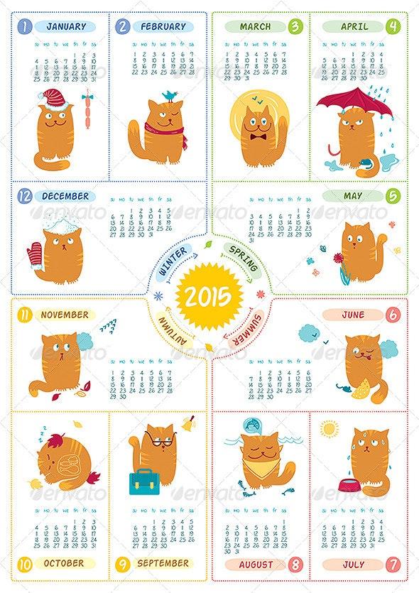 Calendar 2015 - Cats - Animals Characters