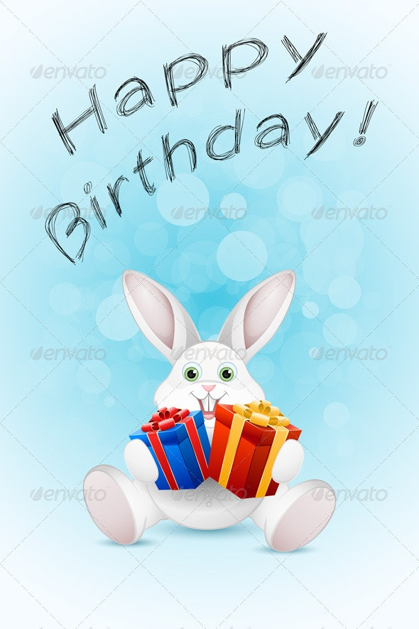 Happy Birthday Card with Gift - Birthdays Seasons/Holidays
