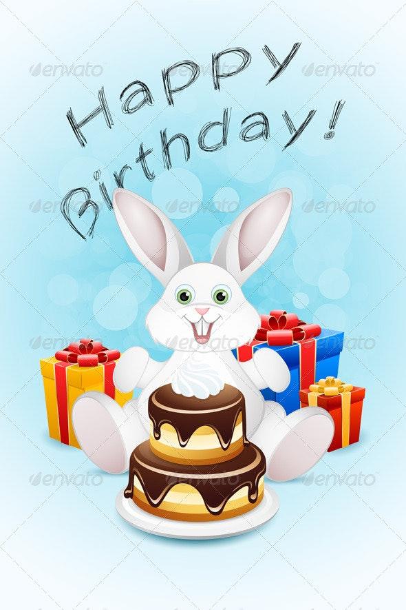 Happy Birthday Card with Cake and Gifts - Birthdays Seasons/Holidays