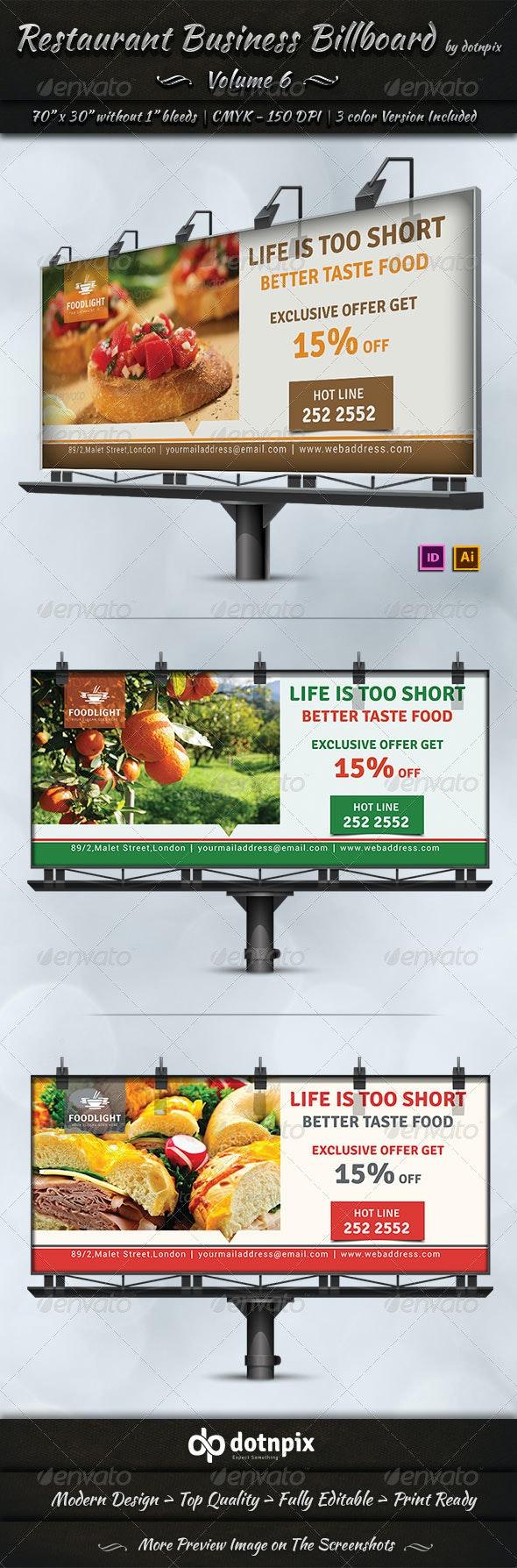 Restaurant Business Billboard | Volume 6 - Signage Print Templates