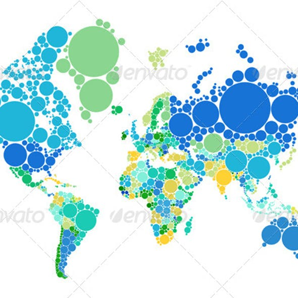 Abstract Dot World Map With Countries