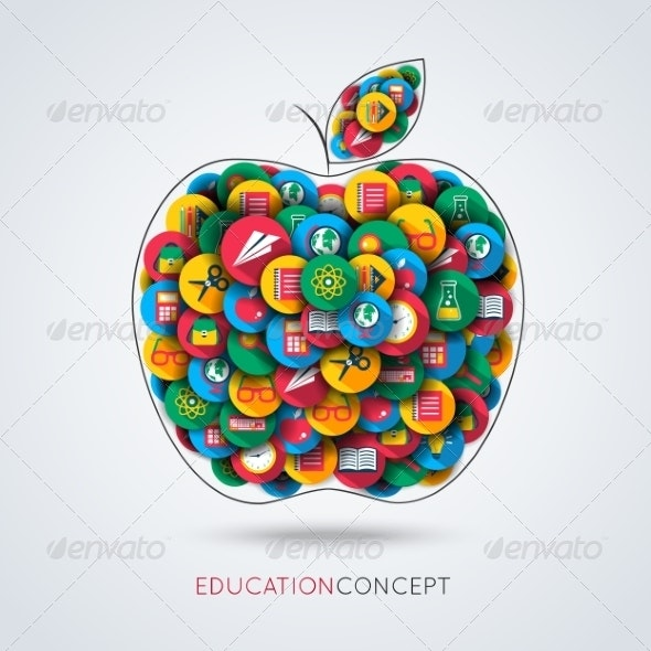 Education Icon Apple Composition - Concepts Business
