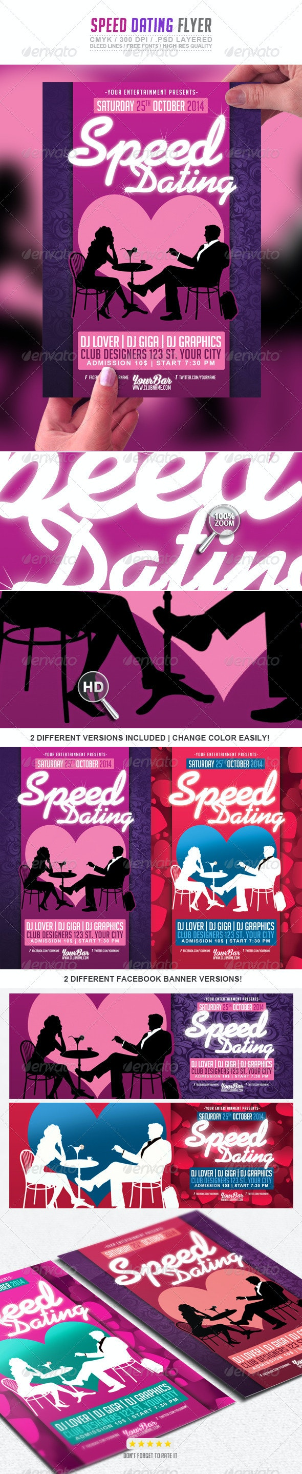 Speed Dating Love Valentines PSD Flyer Template - Events Flyers
