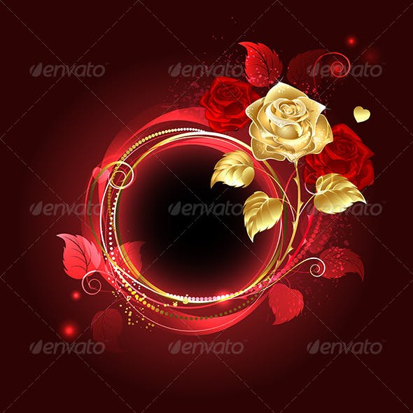 Round Banner with Gold Rose