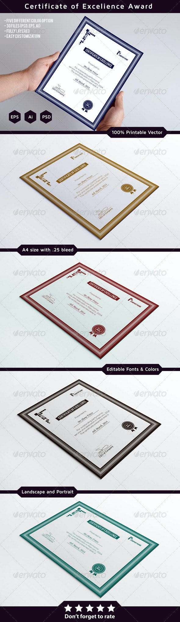 Certificates of Excellence - Certificates Stationery