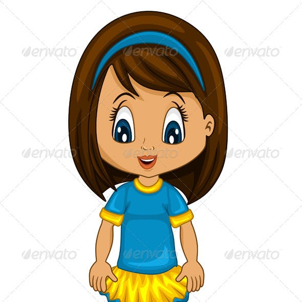 Little Girl in Blue and Yellow Clothes