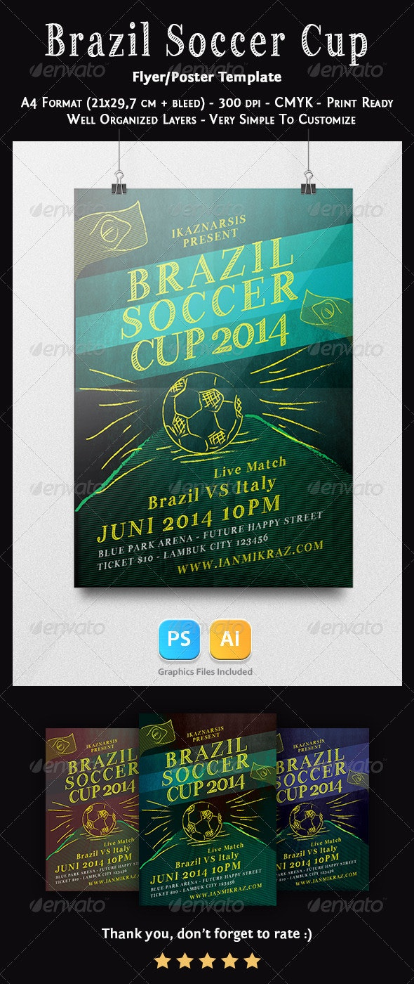 Brazil Soccer Cup Flyer Templates - Sports Events