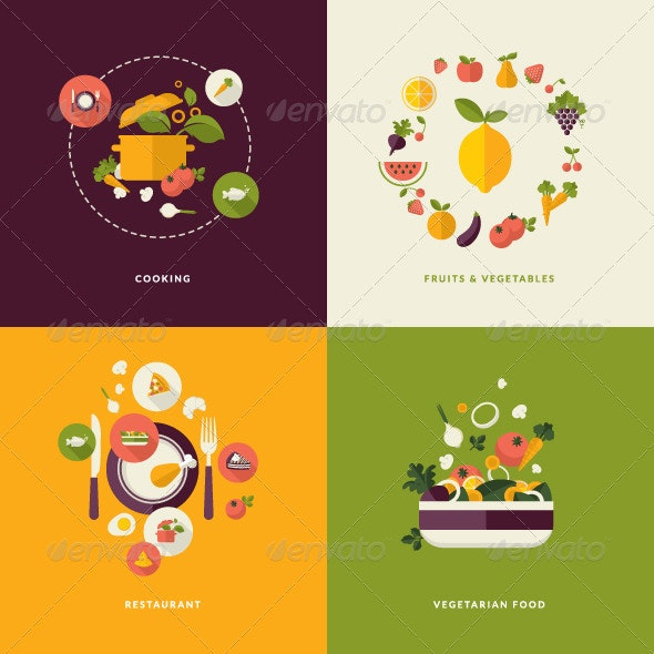 Flat Design Concept Icons for Food and Drink - Conceptual Vectors