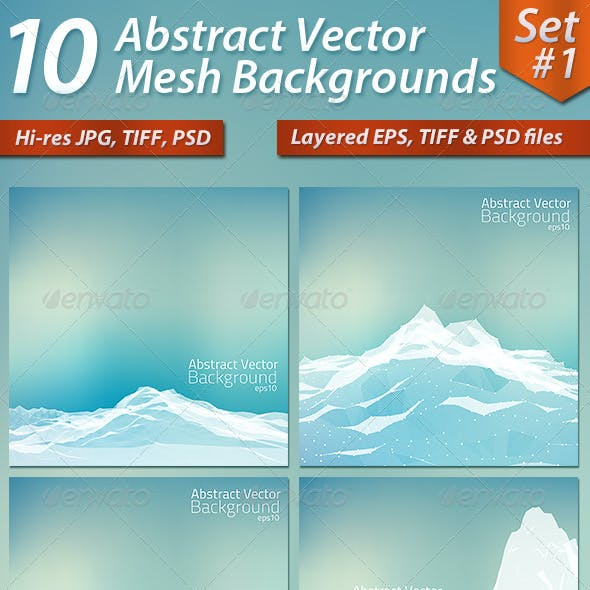 10 Abstract Vector Mesh Backgrounds