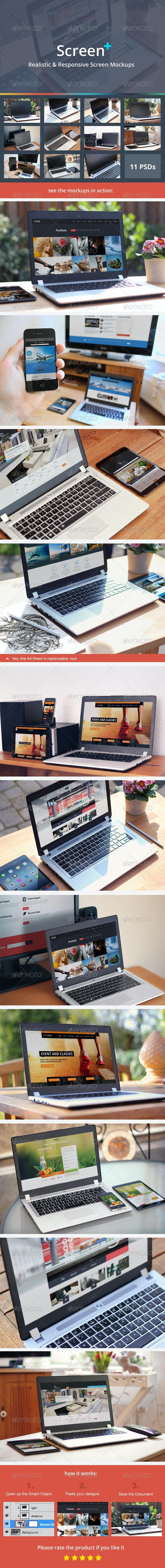 ScreenPlus - Realistic & Responsive Screen Mockups - Multiple Displays