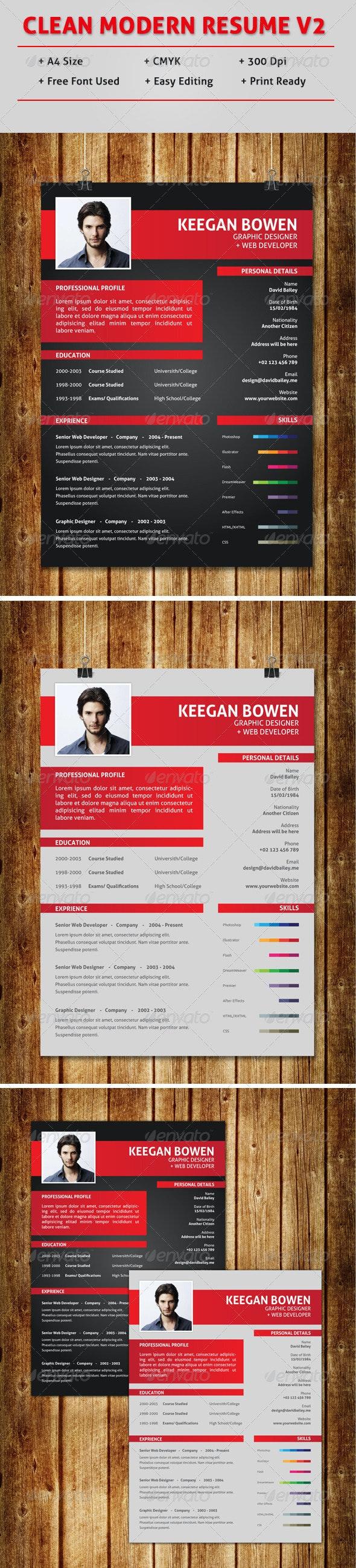 Clean Modern Resume V2 - Resumes Stationery