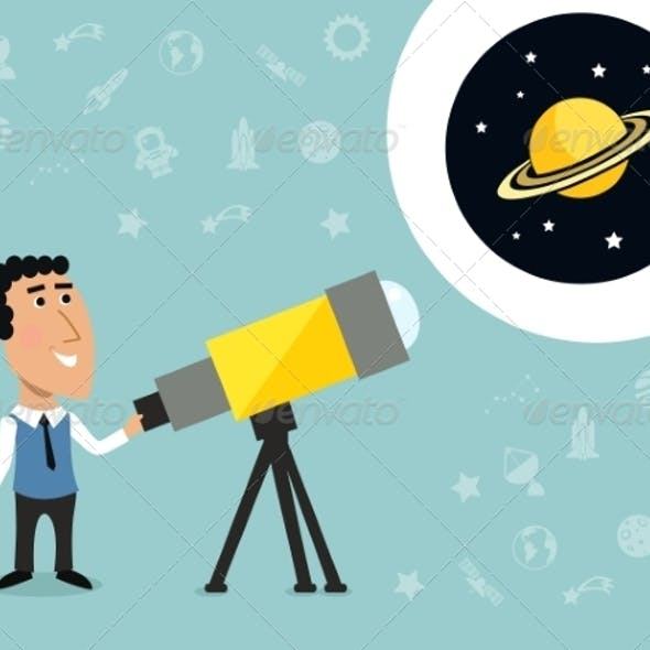 Astronomer with Telescope Print