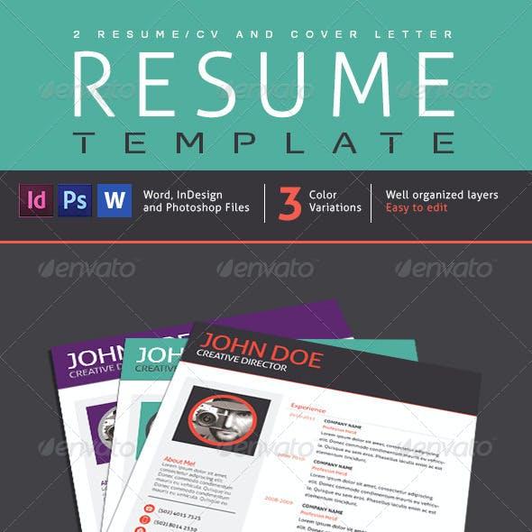 2 Resume Designs, 1 Cover Letter V01