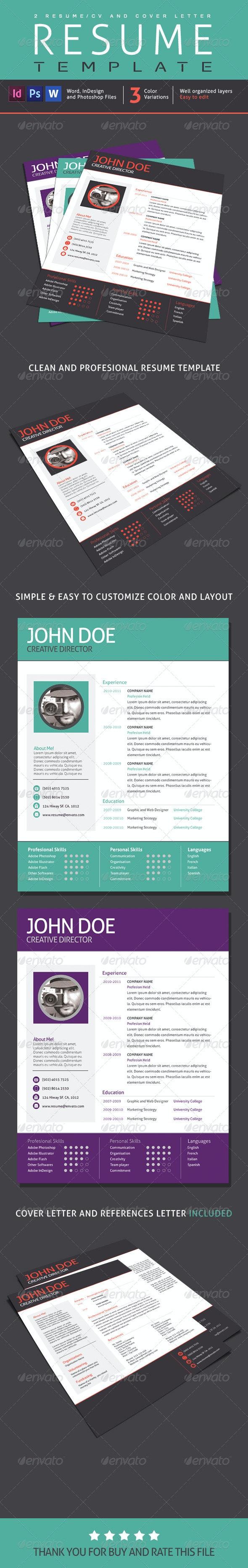 2 Resume Designs, 1 Cover Letter V01 - Resumes Stationery