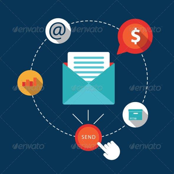Flat Icons Email Marketing