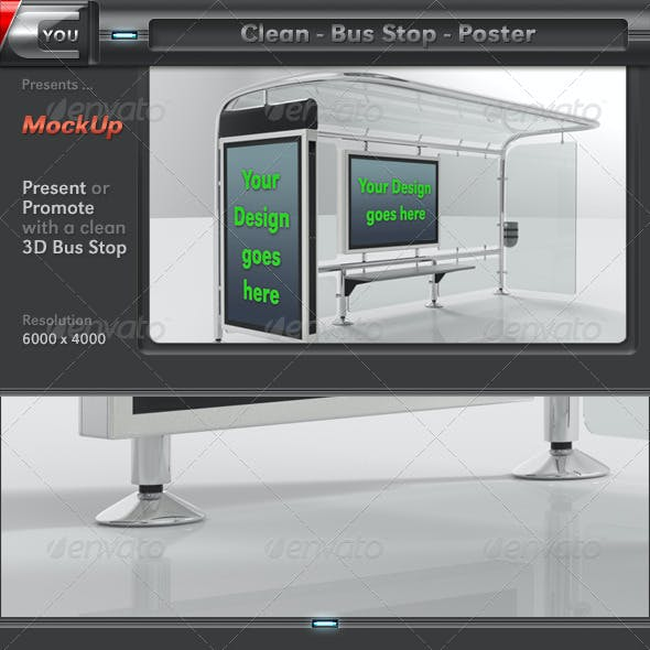 Clean Bus Stop Poster Mock-Up