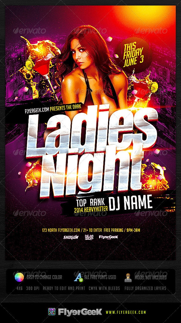 Ladies Night Flyer Template PSD - Clubs & Parties Events