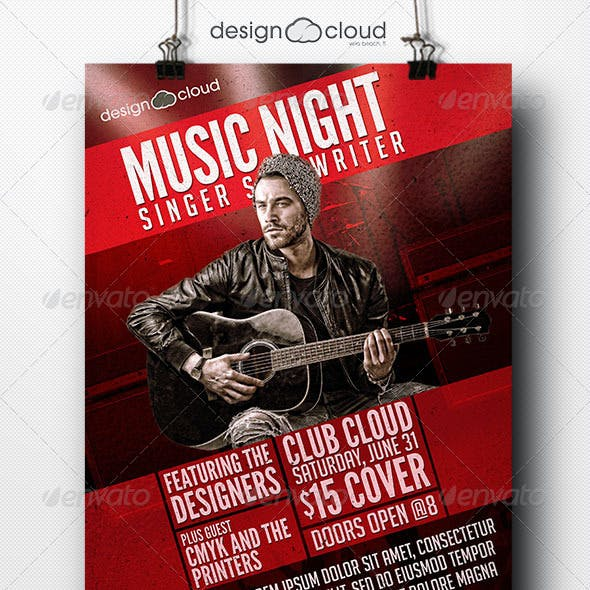 Singer, Songwriter Music Night Flyer Template