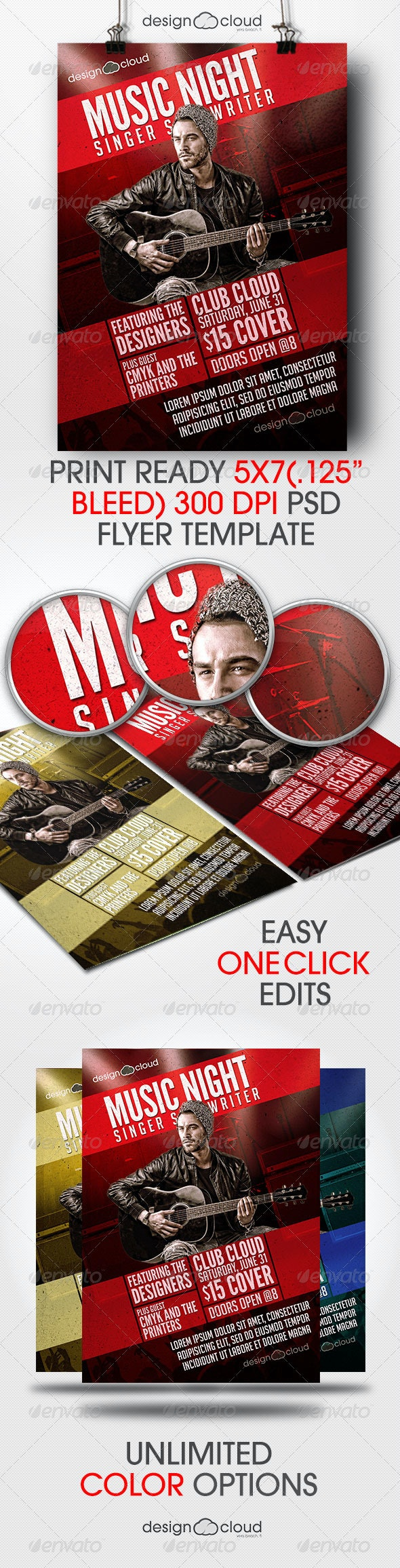 Singer, Songwriter Music Night Flyer Template - Concerts Events