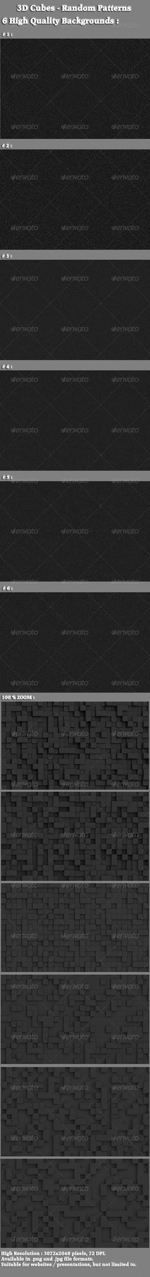 3D Cubes - Random Patterns - 3D Backgrounds