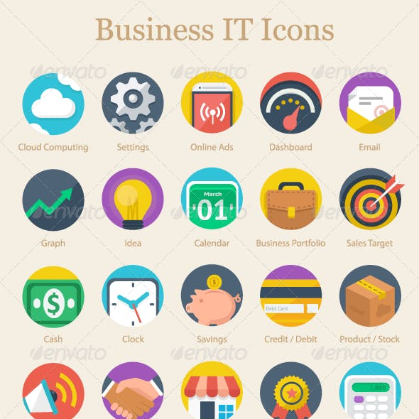 Modern Flat Business IT Icons