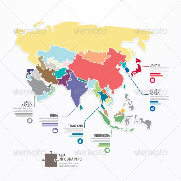 ASIA Map Infographic Template Jigsaw Concept