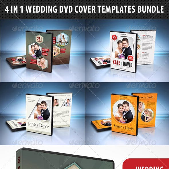 4 in 1 Wedding DVD Cover Templates Bundle