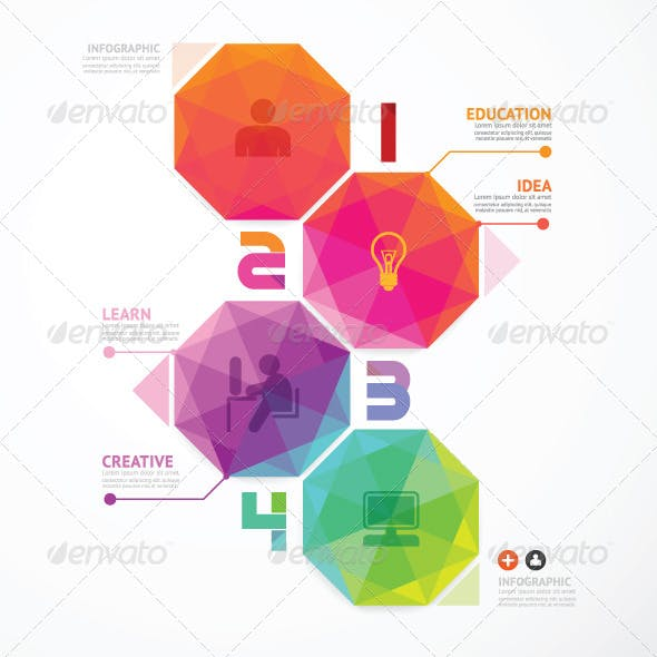 Geometric Number Banners Modern Design Template