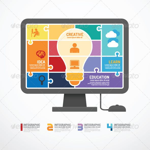 Infographic Template Computer Jigsaw Concept