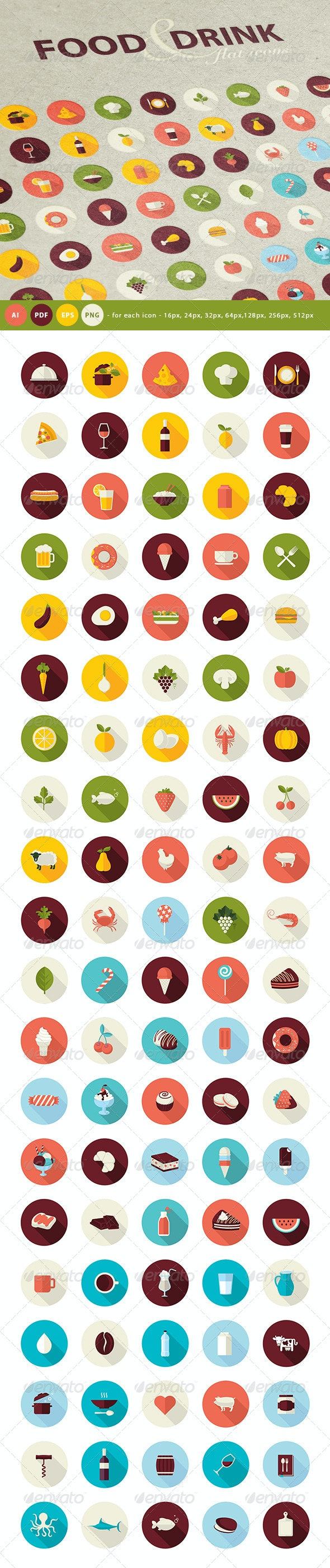 Set of Flat Design Icons for Food and Drink - Icons