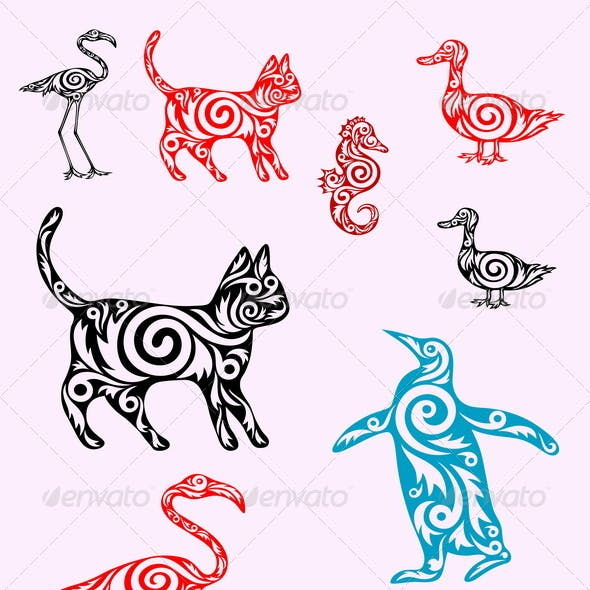 A set of animals ornate