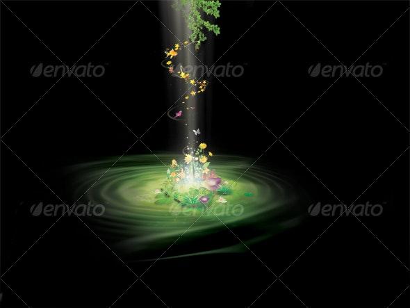 Ray of light background floral Illustration - Scenes Illustrations