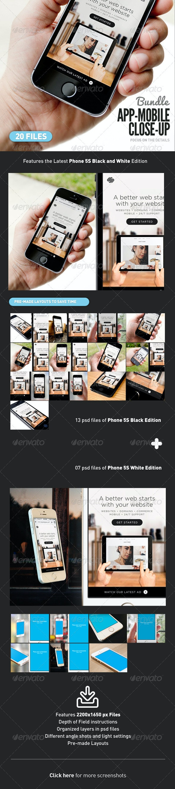 App UI Close-Up Mock-Up 5s Bundle - Mobile Displays